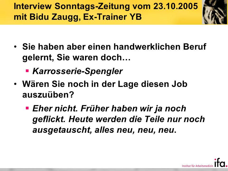 Interview Sonntags-Zeitung vom 23. 10