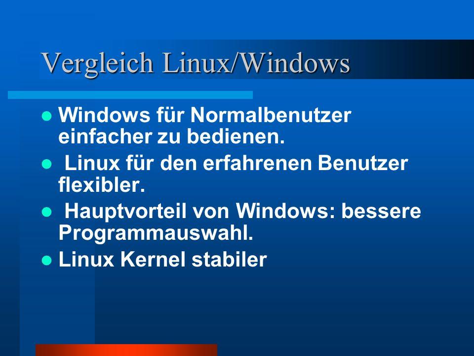 Vergleich Linux/Windows