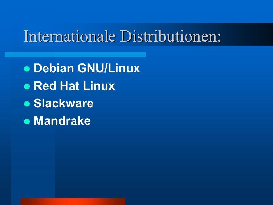 Internationale Distributionen: