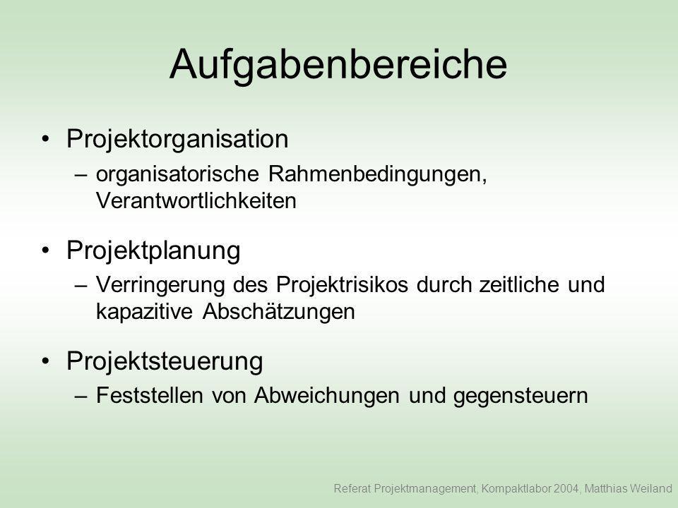 Aufgabenbereiche Projektorganisation Projektplanung Projektsteuerung