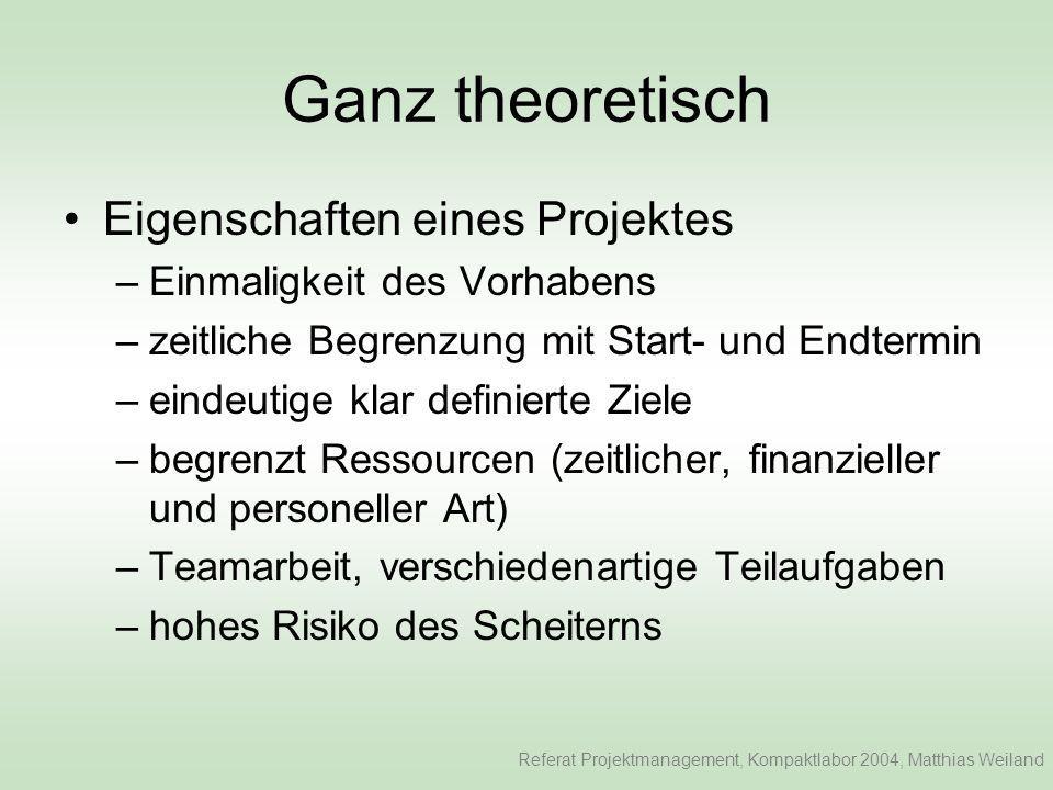 Ganz theoretisch Eigenschaften eines Projektes