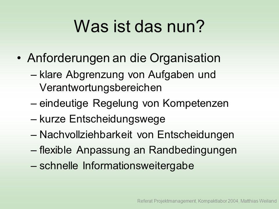 Was ist das nun Anforderungen an die Organisation