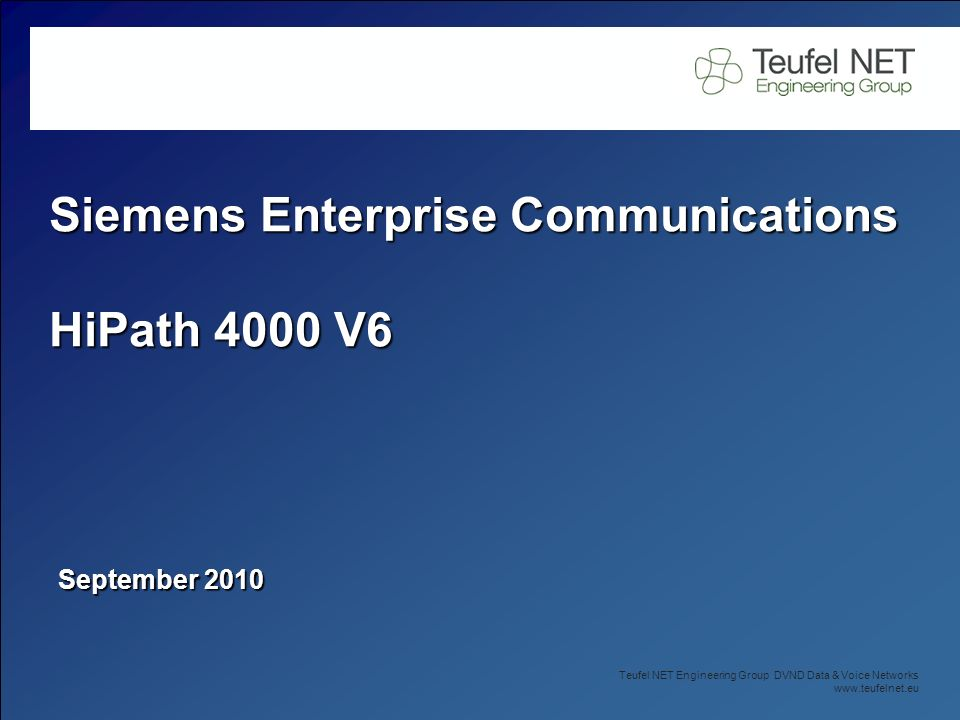 Siemens Enterprise Communications HiPath 4000 V6