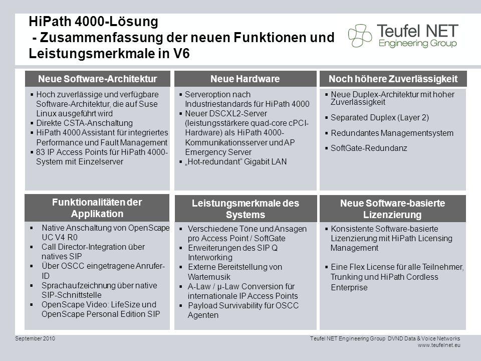 HiPath 4000-Lösung - Zusammenfassung der neuen Funktionen und Leistungsmerkmale in V6