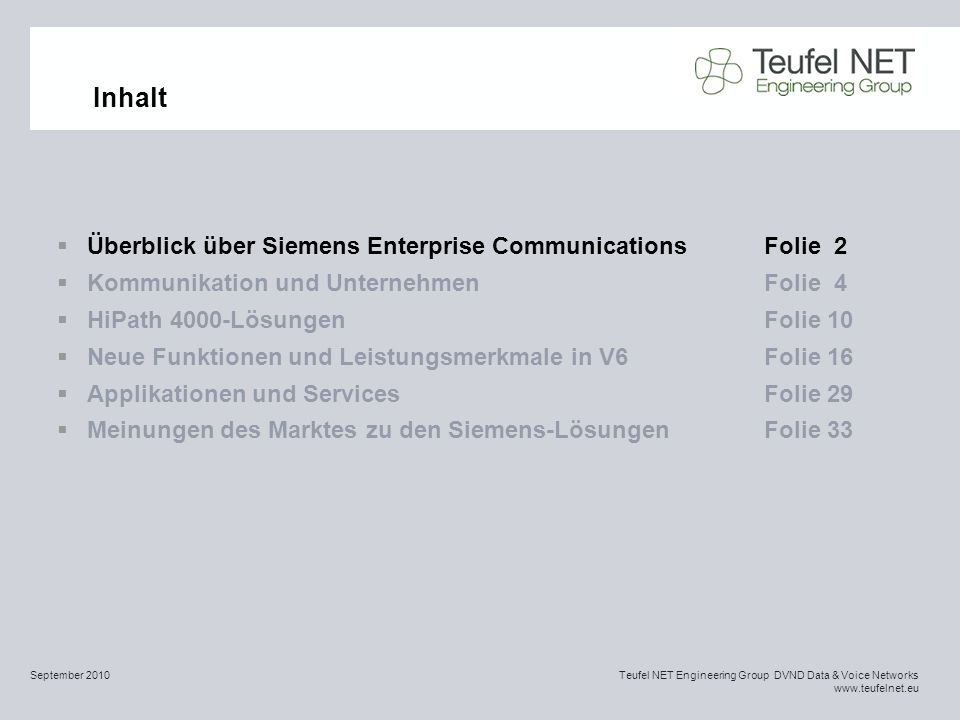 Inhalt Überblick über Siemens Enterprise Communications Folie 2