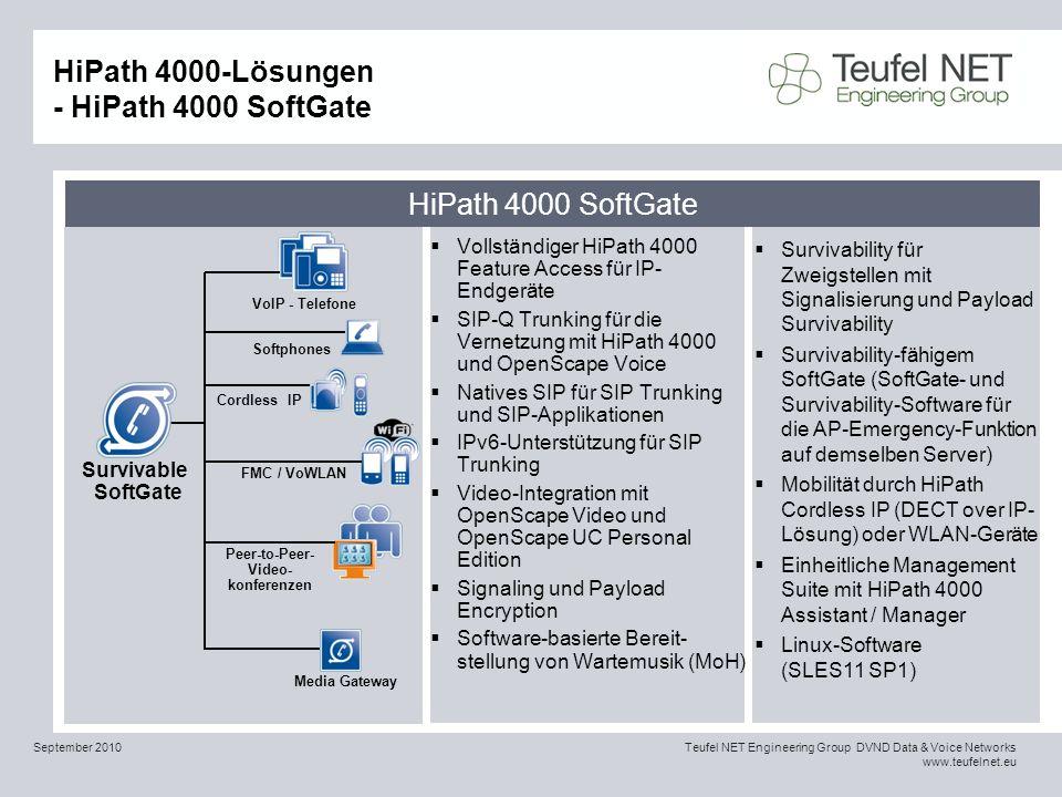 HiPath 4000-Lösungen - HiPath 4000 SoftGate