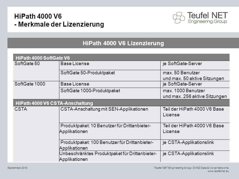 HiPath 4000 V6 - Merkmale der Lizenzierung