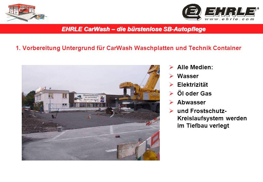1. Vorbereitung Untergrund für CarWash Waschplatten und Technik Container