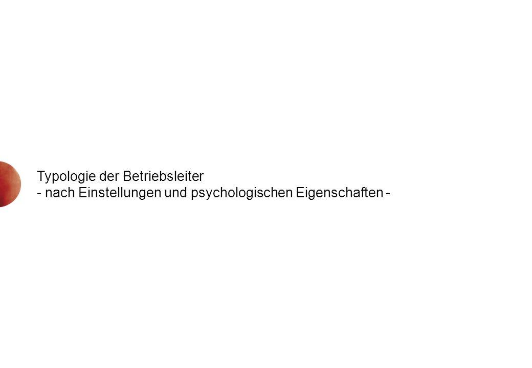 Typologie der Betriebsleiter - nach Einstellungen und psychologischen Eigenschaften -