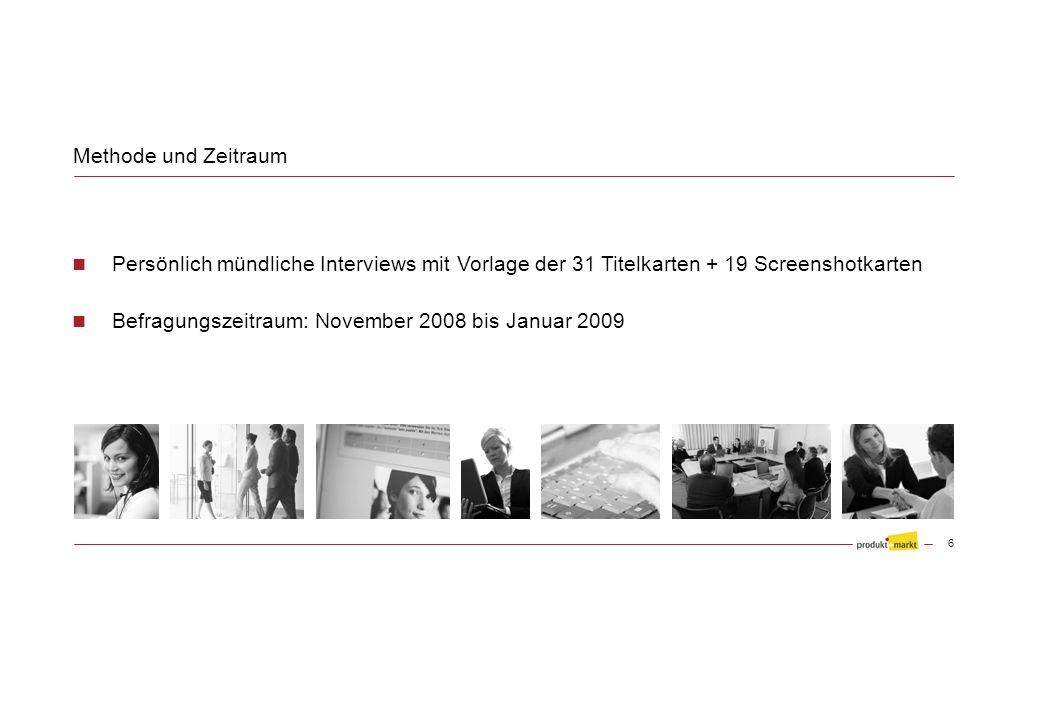 Befragungszeitraum: November 2008 bis Januar 2009