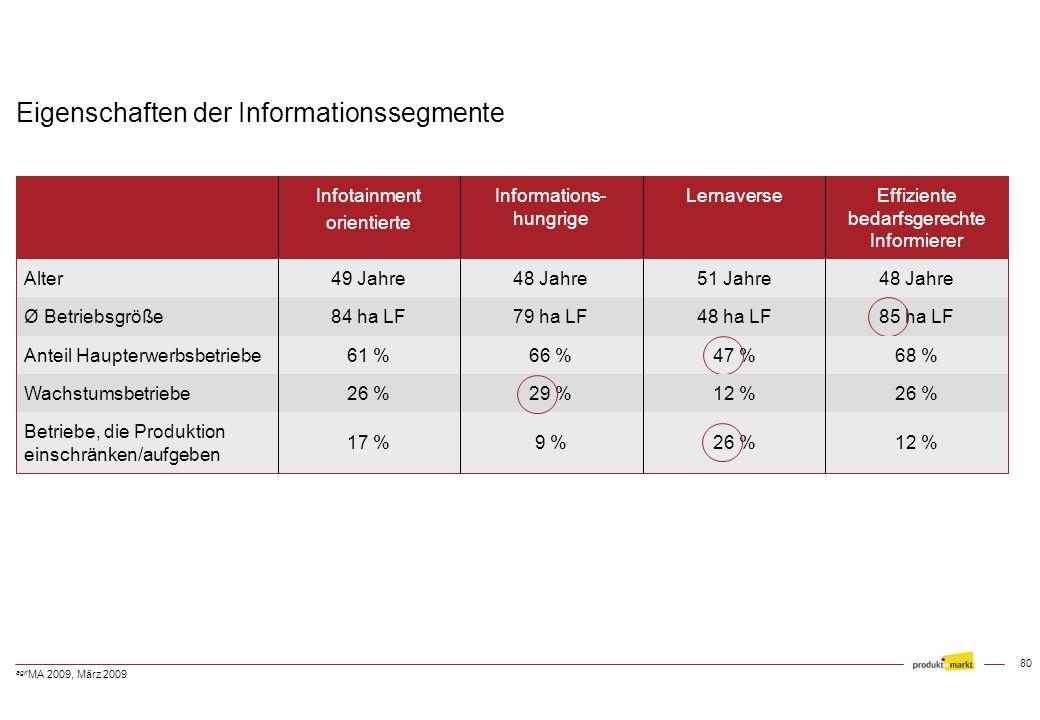 Eigenschaften der Informationssegmente