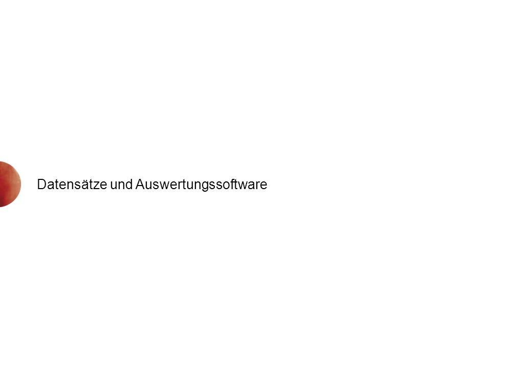 Datensätze und Auswertungssoftware