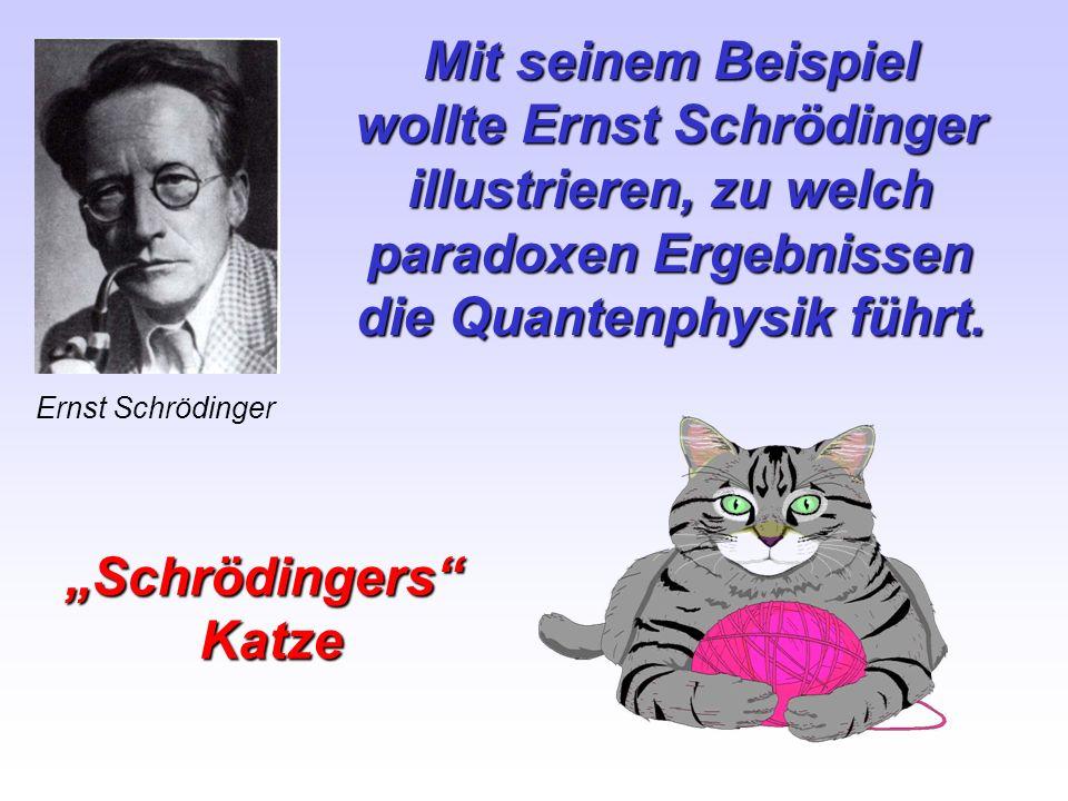 wollte Ernst Schrödinger illustrieren, zu welch paradoxen Ergebnissen