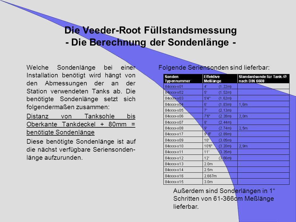 Die Veeder-Root Füllstandsmessung - Die Berechnung der Sondenlänge -