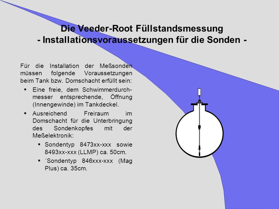 Die Veeder-Root Füllstandsmessung - Installationsvoraussetzungen für die Sonden -