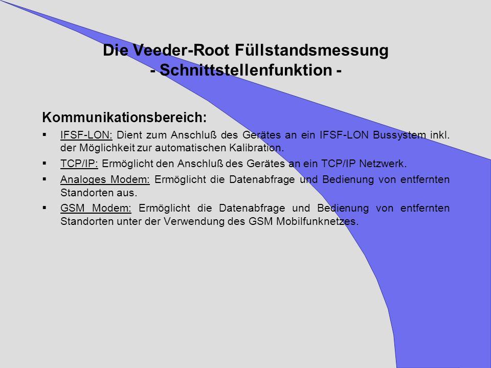 Die Veeder-Root Füllstandsmessung - Schnittstellenfunktion -