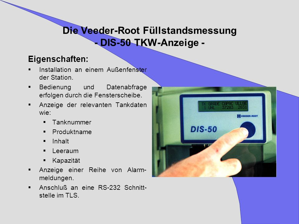 Die Veeder-Root Füllstandsmessung - DIS-50 TKW-Anzeige -