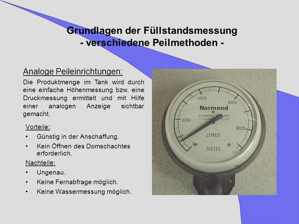 Grundlagen der Füllstandsmessung - verschiedene Peilmethoden -