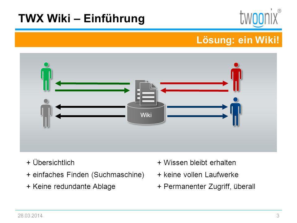 TWX Wiki – Einführung Lösung: ein Wiki! + Übersichtlich