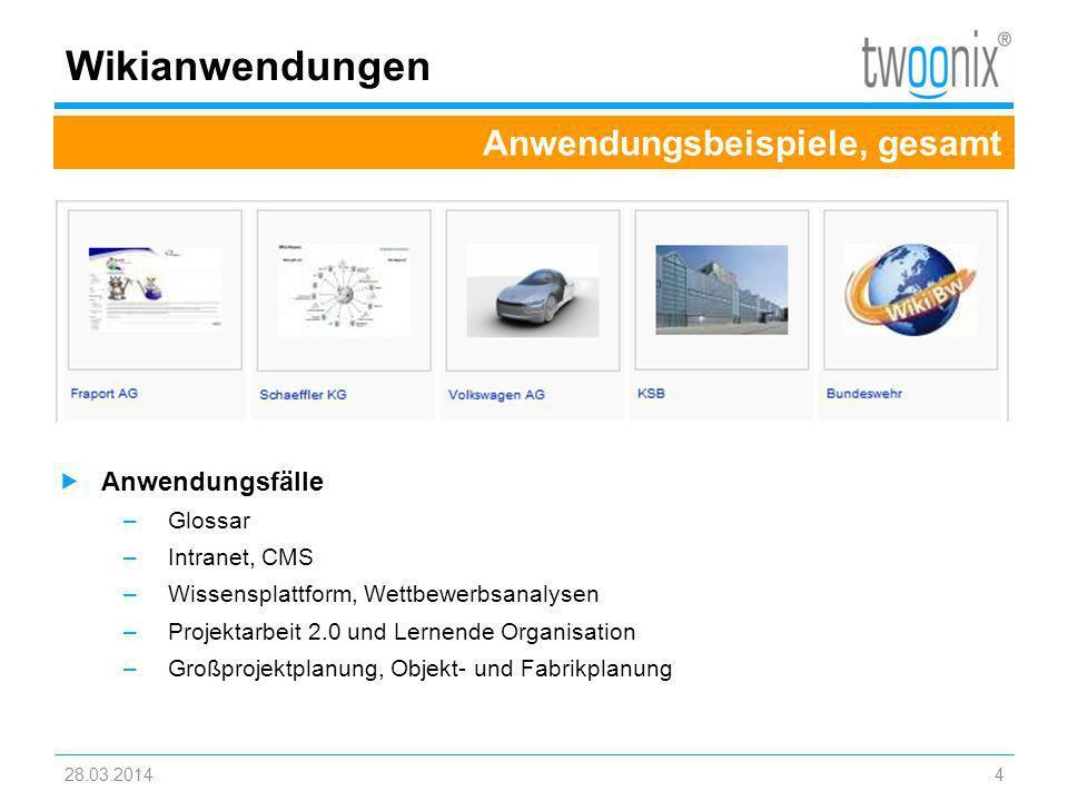 Wikianwendungen Anwendungsbeispiele, gesamt Anwendungsfälle Glossar