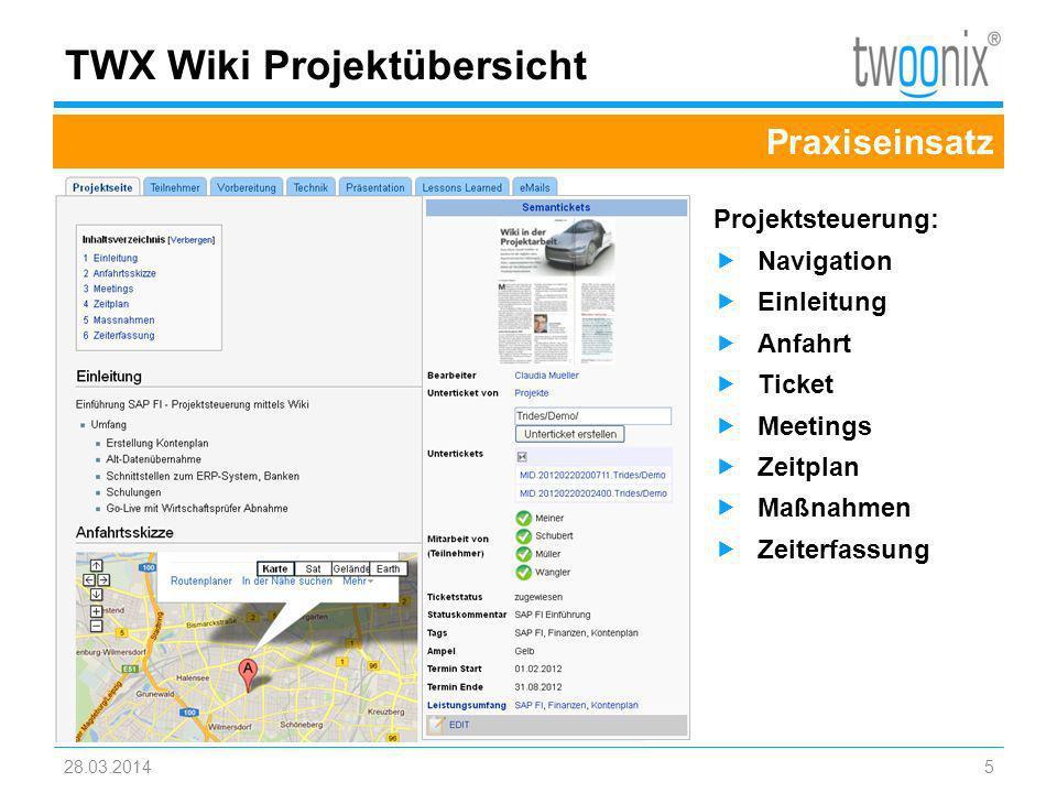 TWX Wiki Projektübersicht
