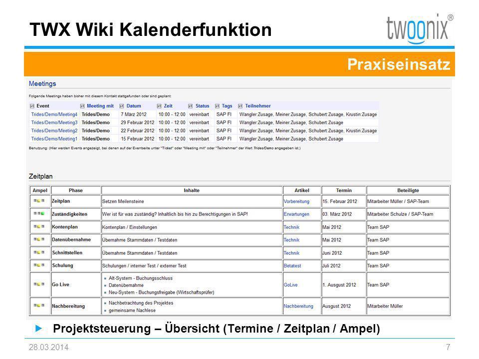 TWX Wiki Kalenderfunktion