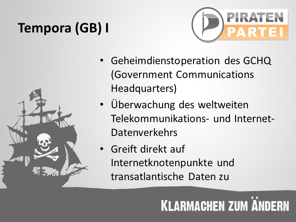 Tempora (GB) IGeheimdienstoperation des GCHQ (Government Communications Headquarters)