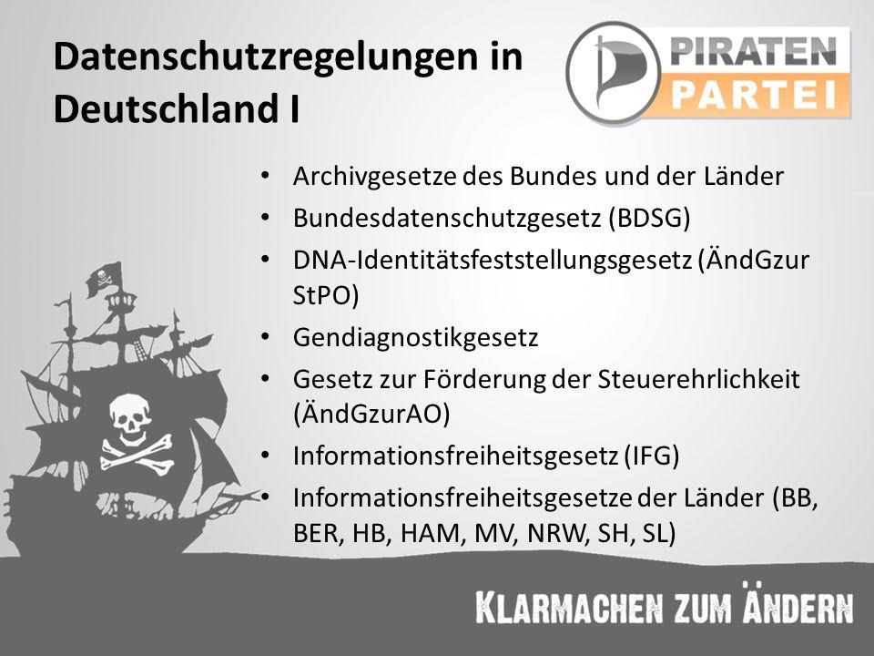Datenschutzregelungen in Deutschland I