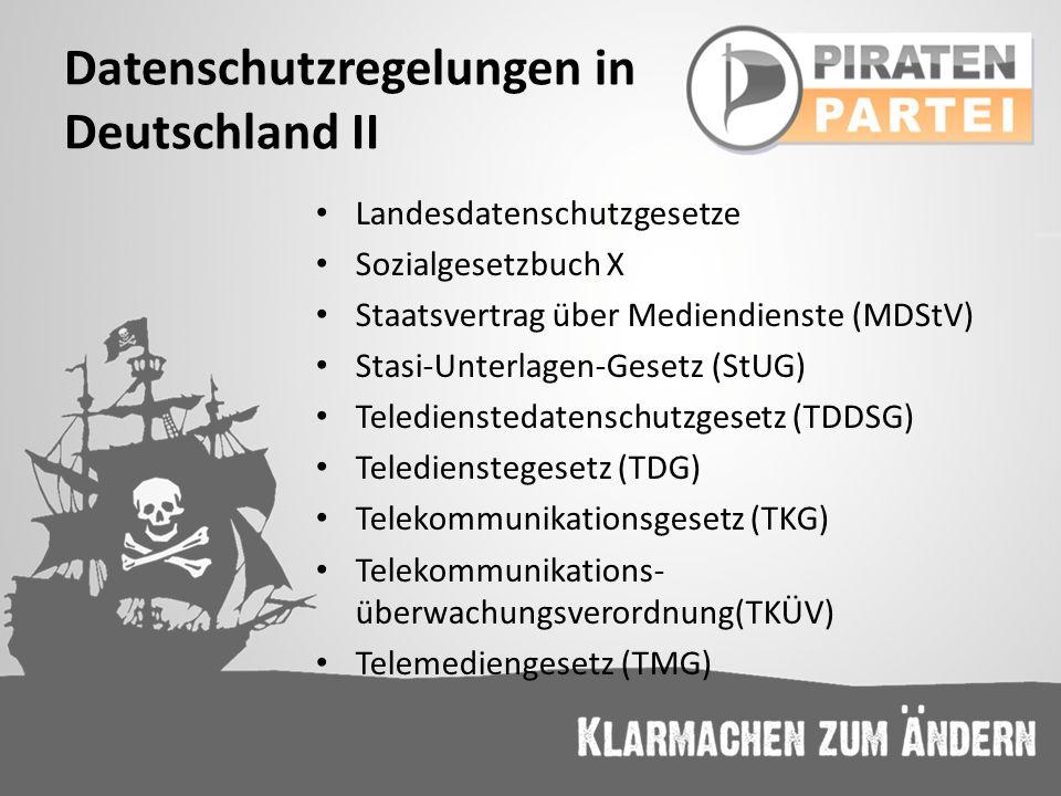 Datenschutzregelungen in Deutschland II