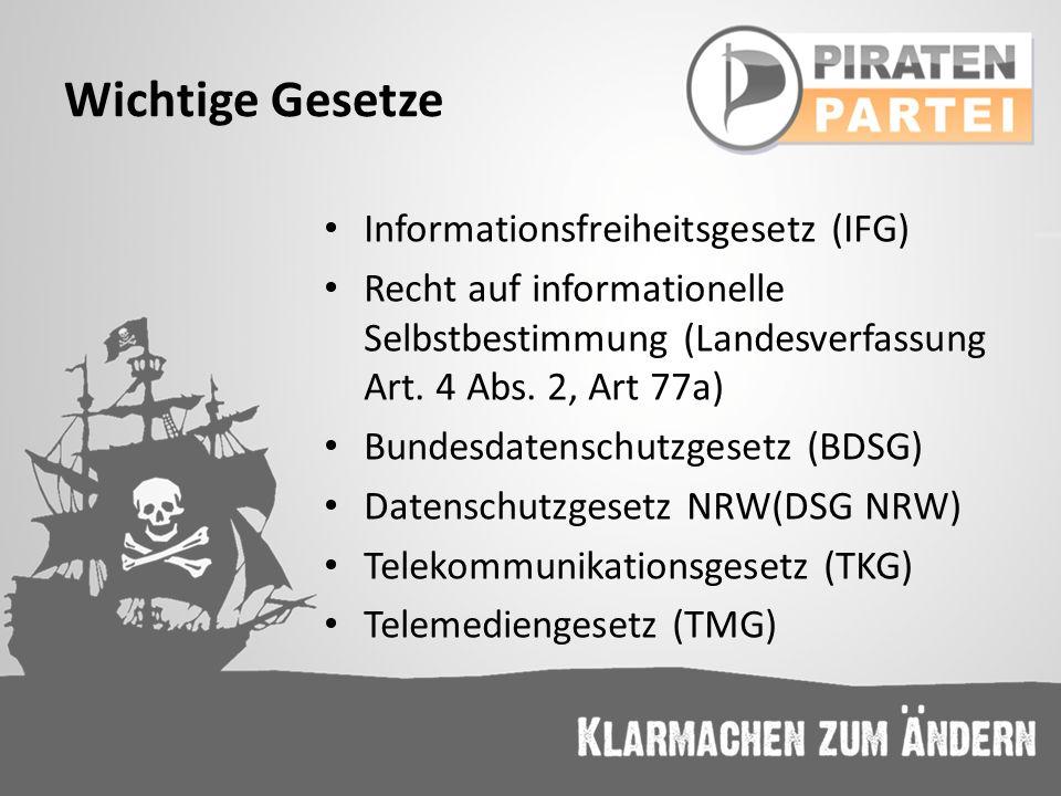 Wichtige Gesetze Informationsfreiheitsgesetz (IFG)