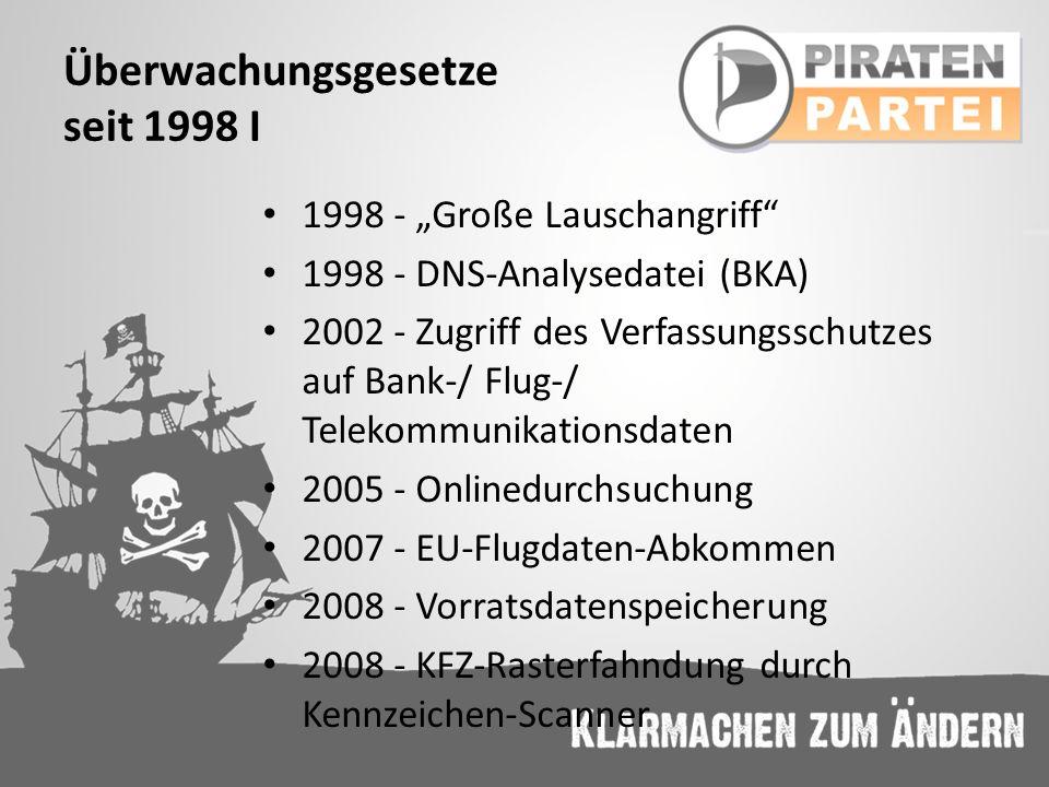 Überwachungsgesetze seit 1998 I