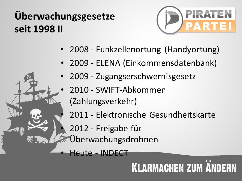 Überwachungsgesetze seit 1998 II