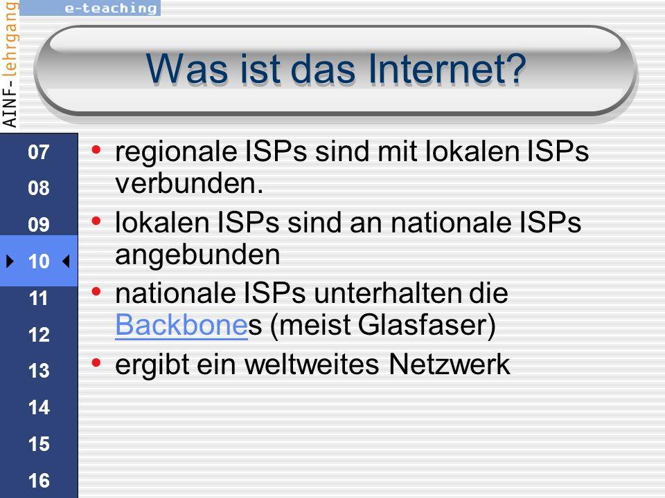 Was ist das Internet regionale ISPs sind mit lokalen ISPs verbunden.