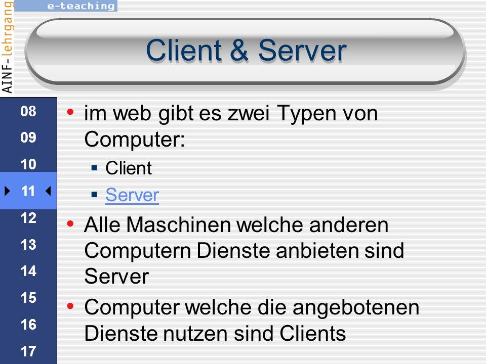 Client & Server im web gibt es zwei Typen von Computer: