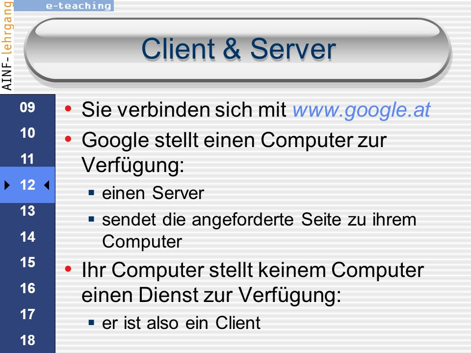 Client & Server Sie verbinden sich mit www.google.at