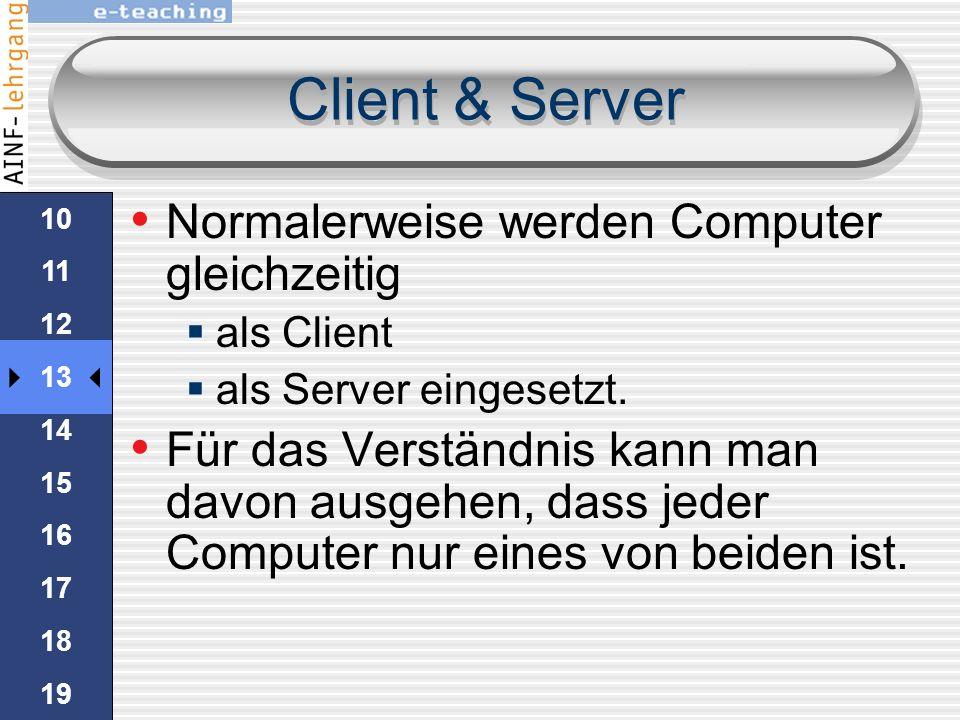 Client & Server Normalerweise werden Computer gleichzeitig
