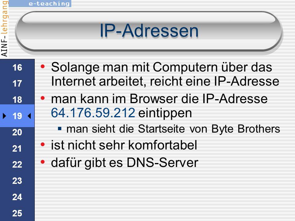 IP-Adressen Solange man mit Computern über das Internet arbeitet, reicht eine IP-Adresse. man kann im Browser die IP-Adresse 64.176.59.212 eintippen.