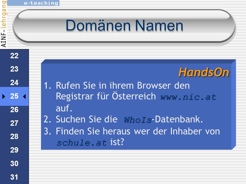 Domänen Namen HandsOn. Rufen Sie in ihrem Browser den Registrar für Österreich www.nic.at auf. Suchen Sie die WhoIs-Datenbank.