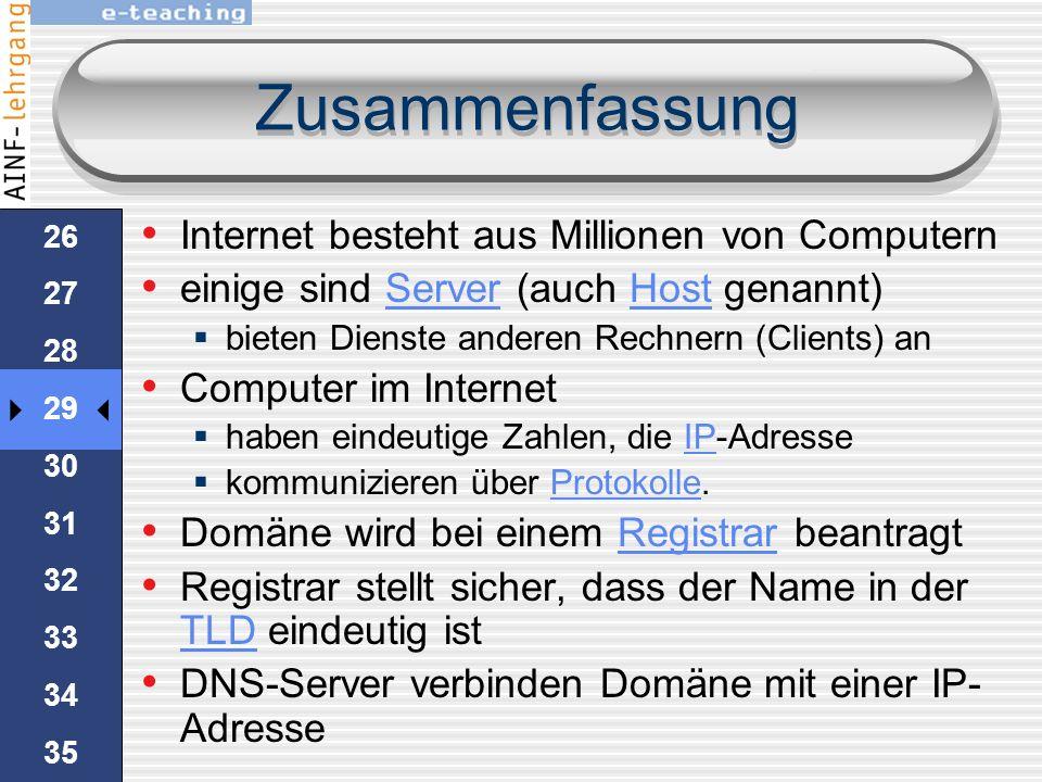 Zusammenfassung Internet besteht aus Millionen von Computern
