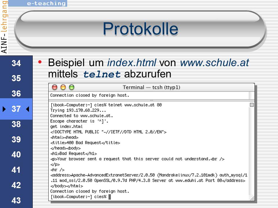 Protokolle Beispiel um index.html von www.schule.at mittels telnet abzurufen. 34. 35. 36. 37. 38.