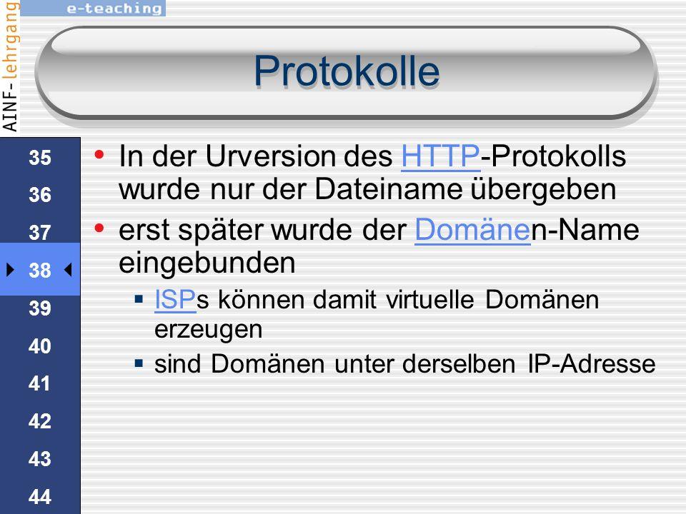 Protokolle In der Urversion des HTTP-Protokolls wurde nur der Dateiname übergeben. erst später wurde der Domänen-Name eingebunden.