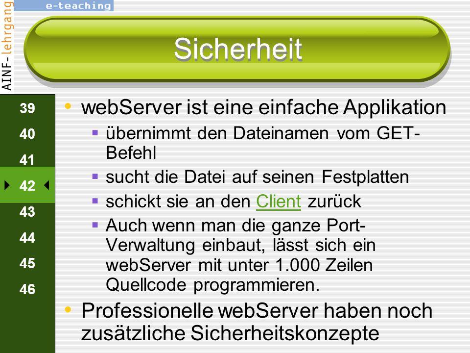 Sicherheit webServer ist eine einfache Applikation