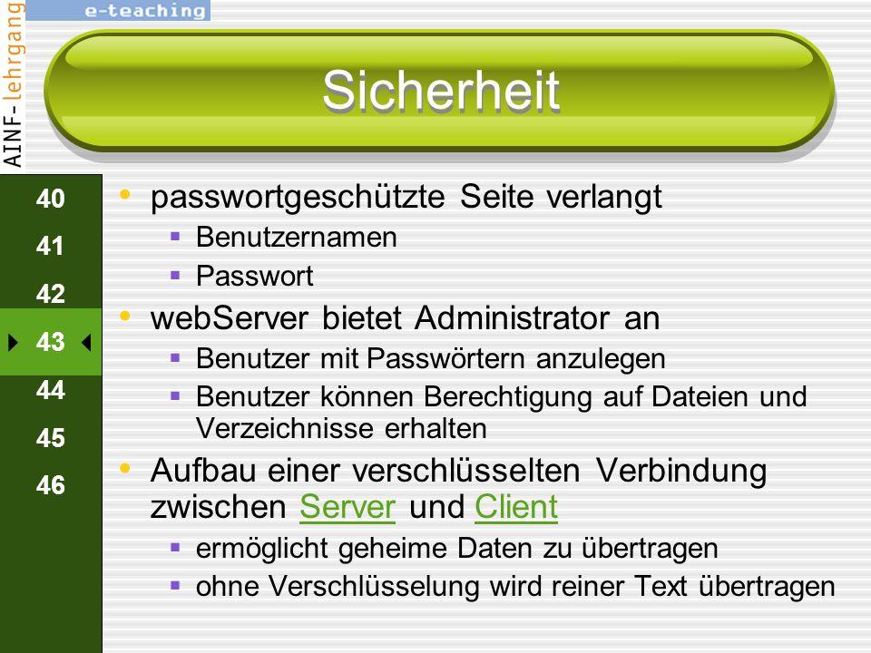 Sicherheit passwortgeschützte Seite verlangt