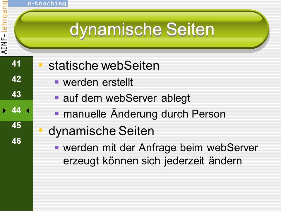 dynamische Seiten statische webSeiten dynamische Seiten