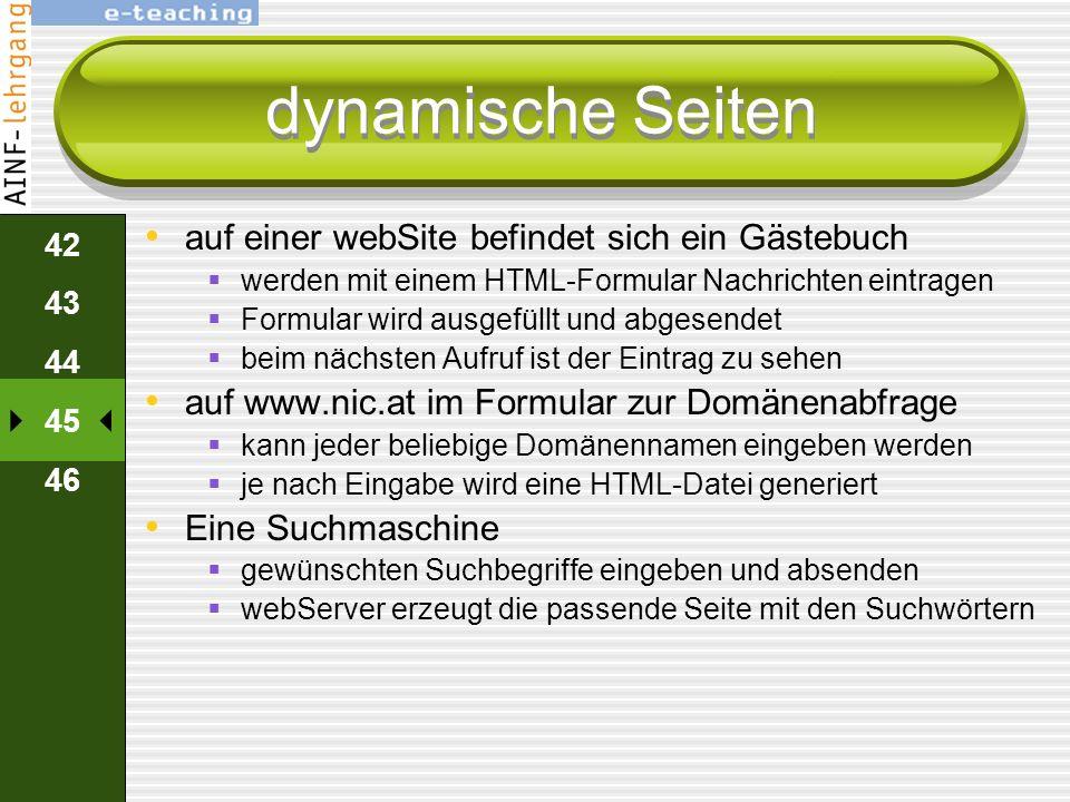 dynamische Seiten auf einer webSite befindet sich ein Gästebuch