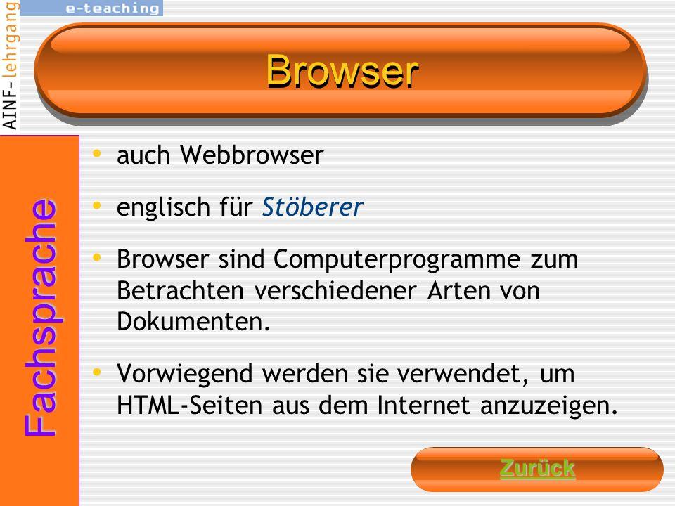 Browser Fachsprache auch Webbrowser englisch für Stöberer