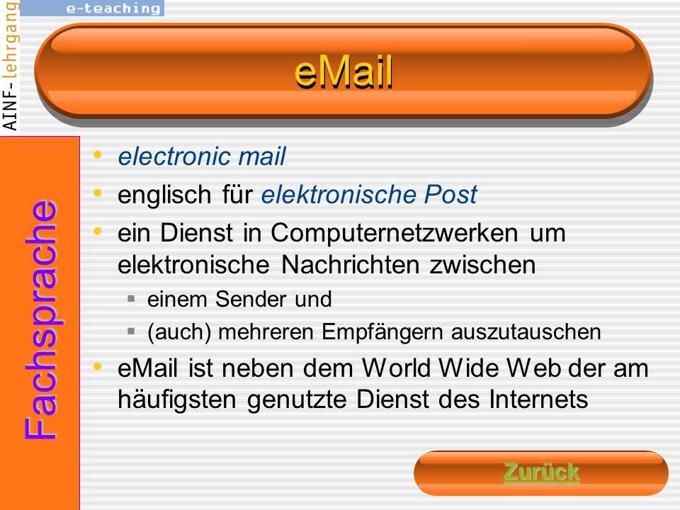 eMail Fachsprache electronic mail englisch für elektronische Post