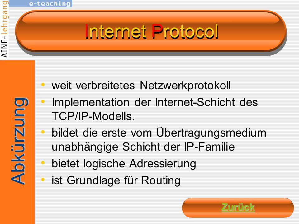 Internet Protocol Abkürzung weit verbreitetes Netzwerkprotokoll