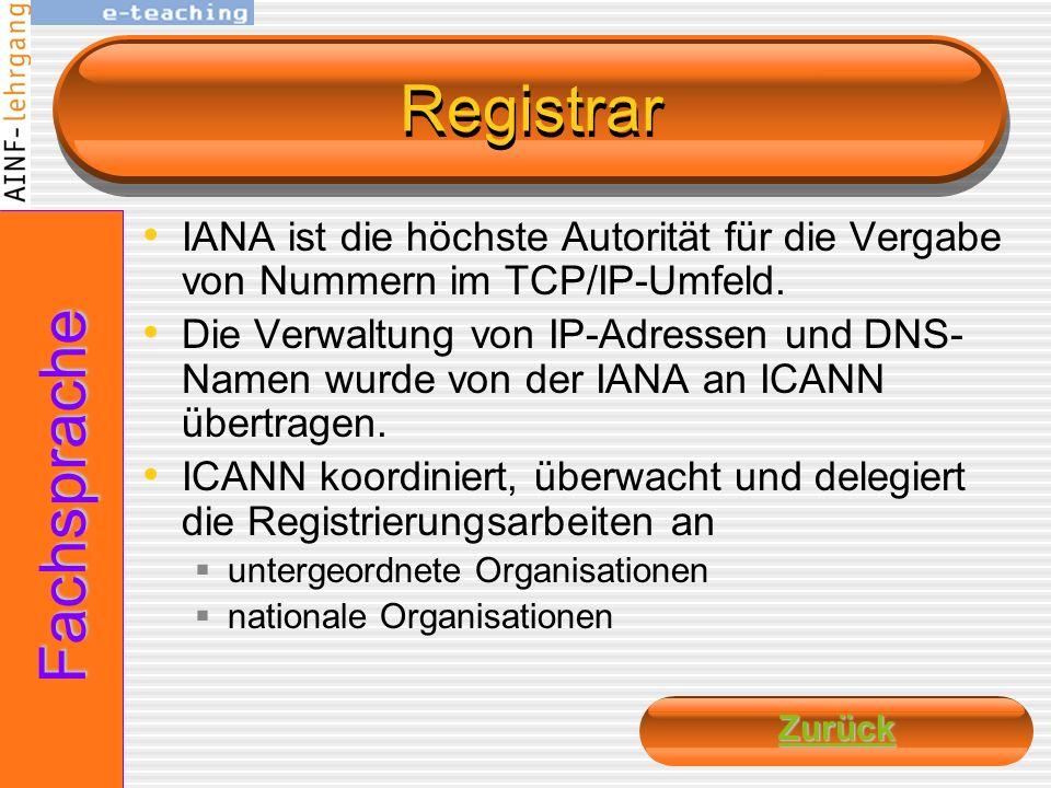 Registrar Fachsprache