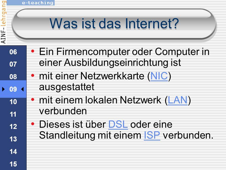 Was ist das Internet 06. 07. 08. 09. 10. 11. 12. 13. 14. 15. Ein Firmencomputer oder Computer in einer Ausbildungseinrichtung ist.